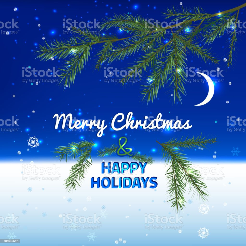 Christmas Blue Background vector art illustration