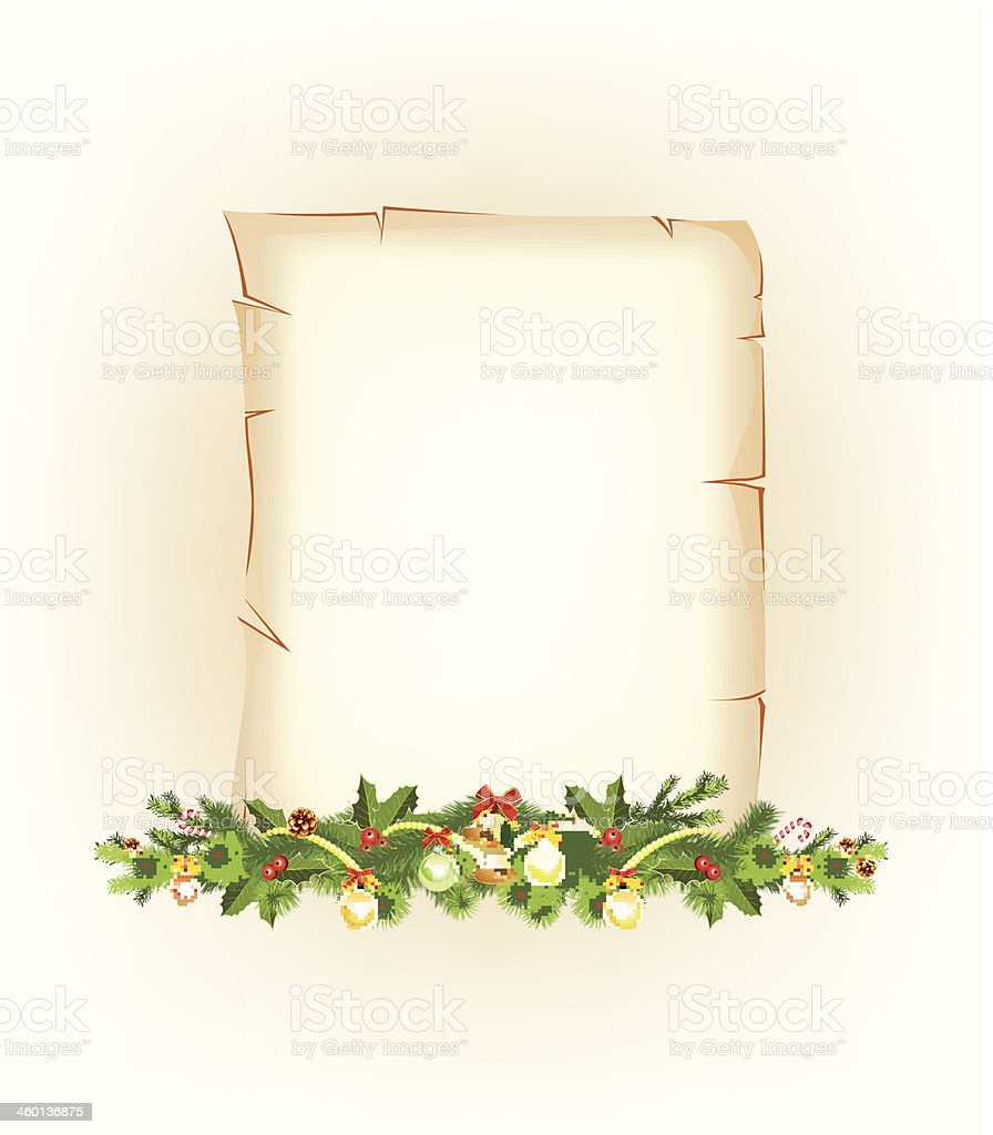 Christmas border. old paper royalty-free stock vector art