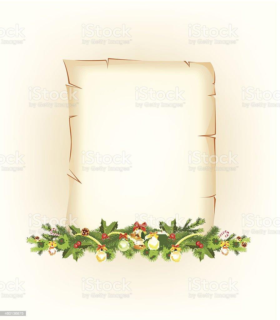 Christmas border. old paper vector art illustration