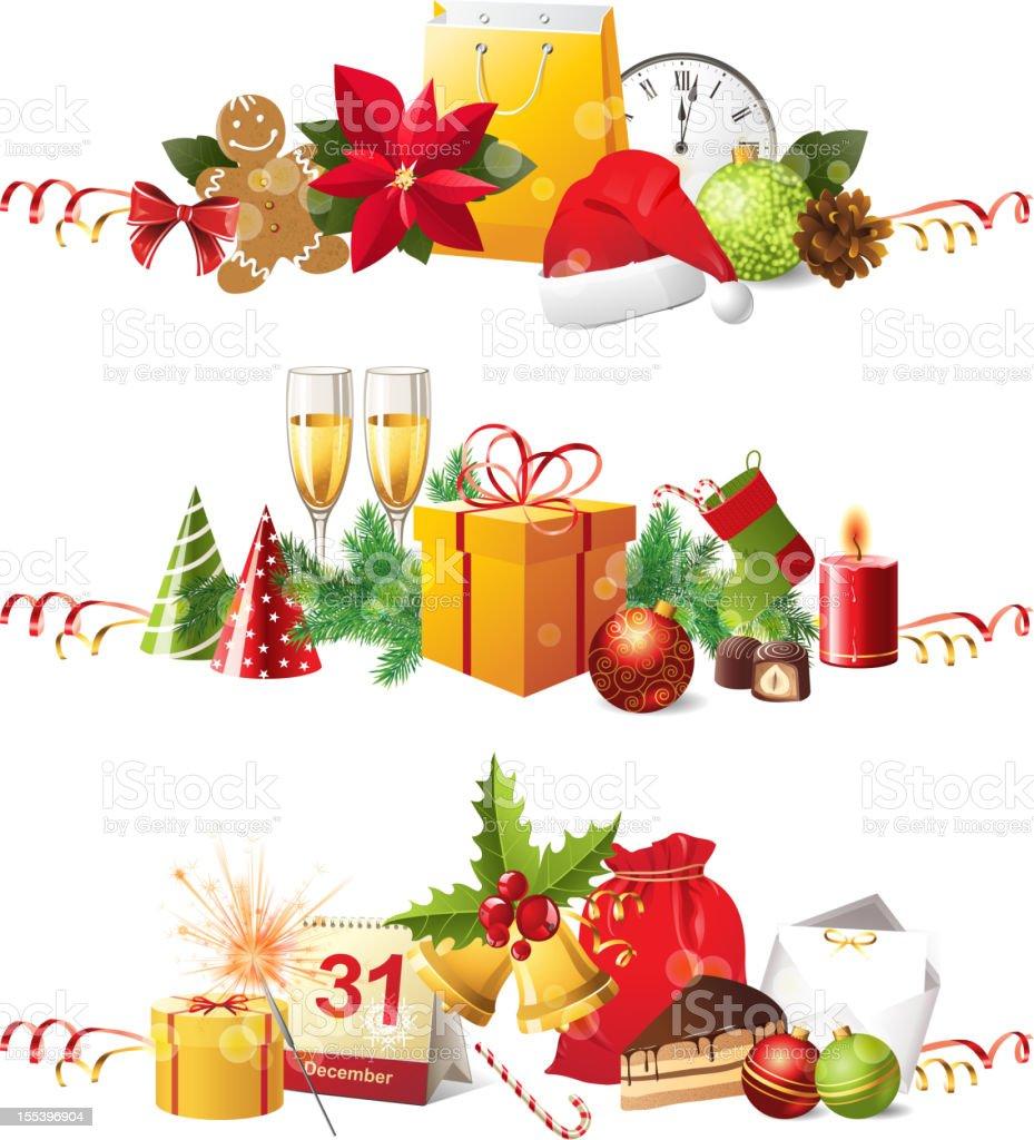 Christmas borders royalty-free stock vector art
