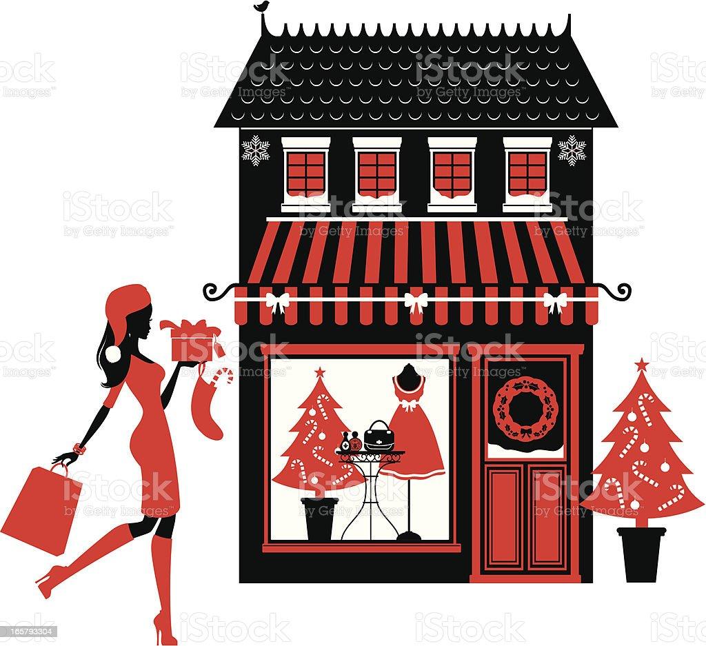 Christmas Boutique vector art illustration