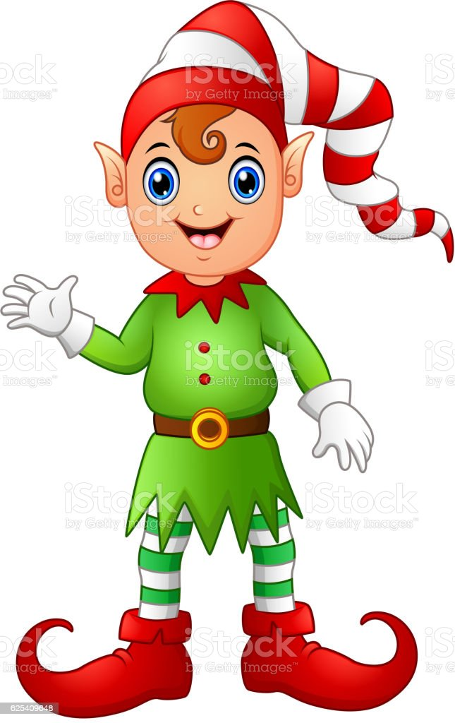 Christmas boy elf cartoon vector art illustration