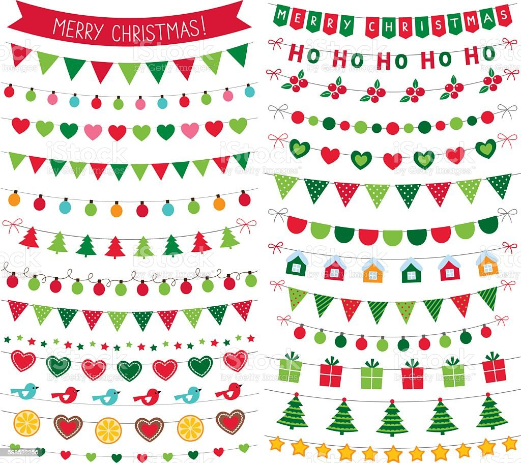 Christmas bunting decoration, isolated vector design elements set vector art illustration