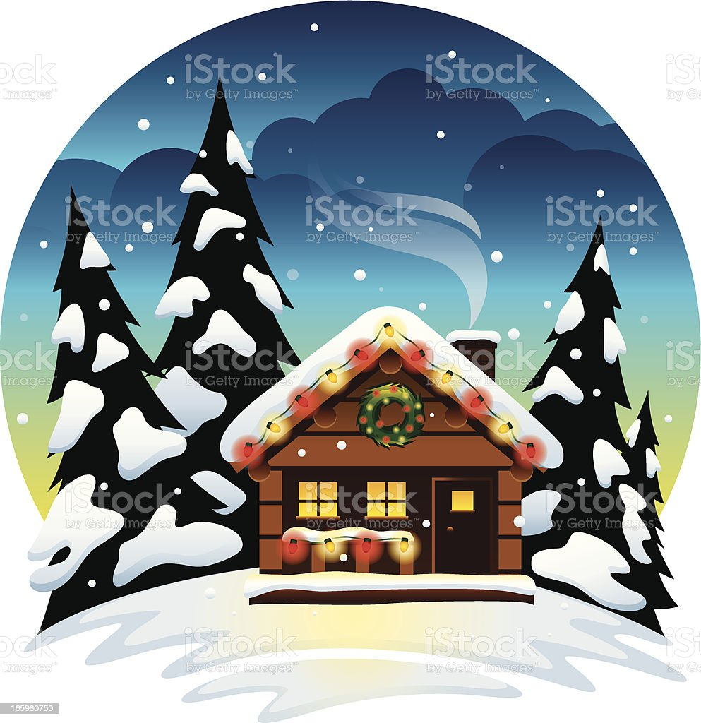 Christmas Cabin royalty-free stock vector art