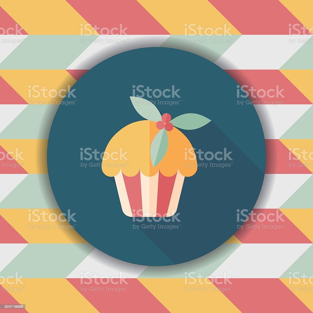 Christmas cake flat icon with long shadow,eps10 vector art illustration