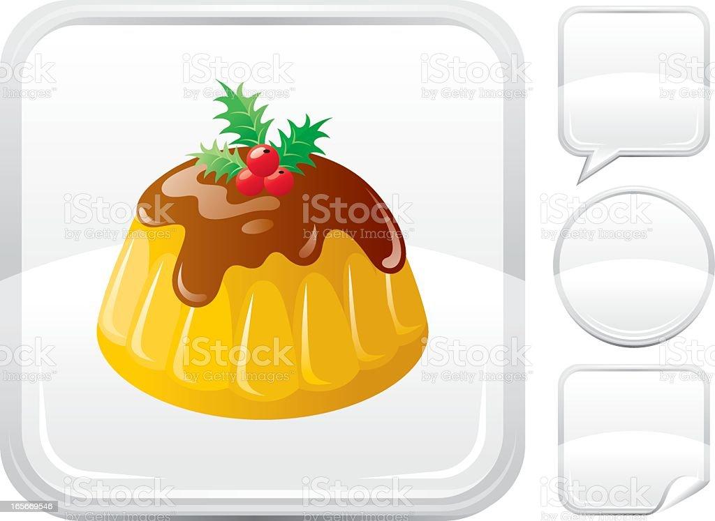 Christmas cake icon on silver button royalty-free stock vector art