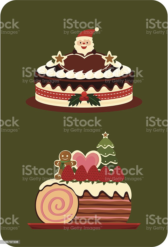 Christmas cake with Santa vector art illustration