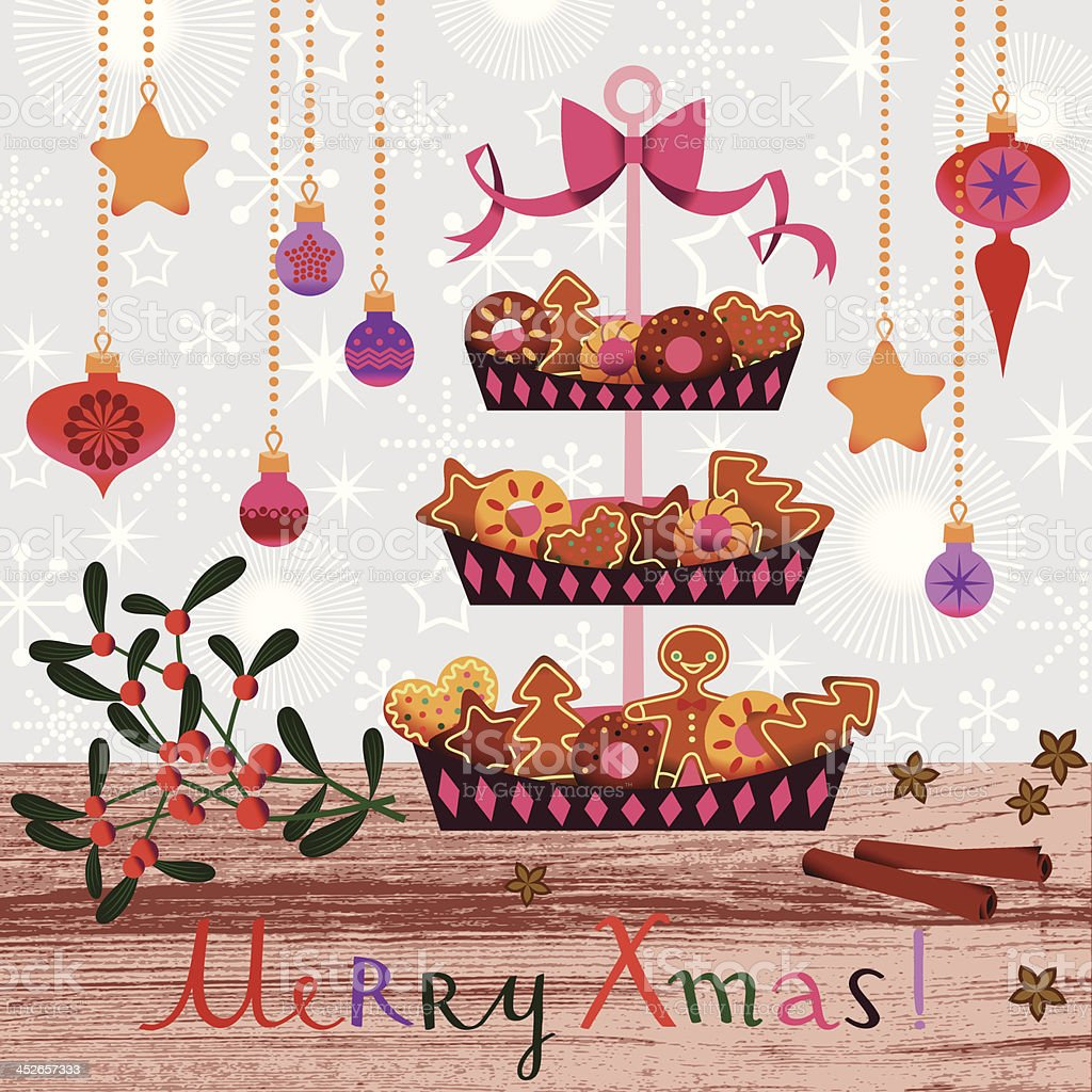 Christmas cakes and cookies. vector art illustration