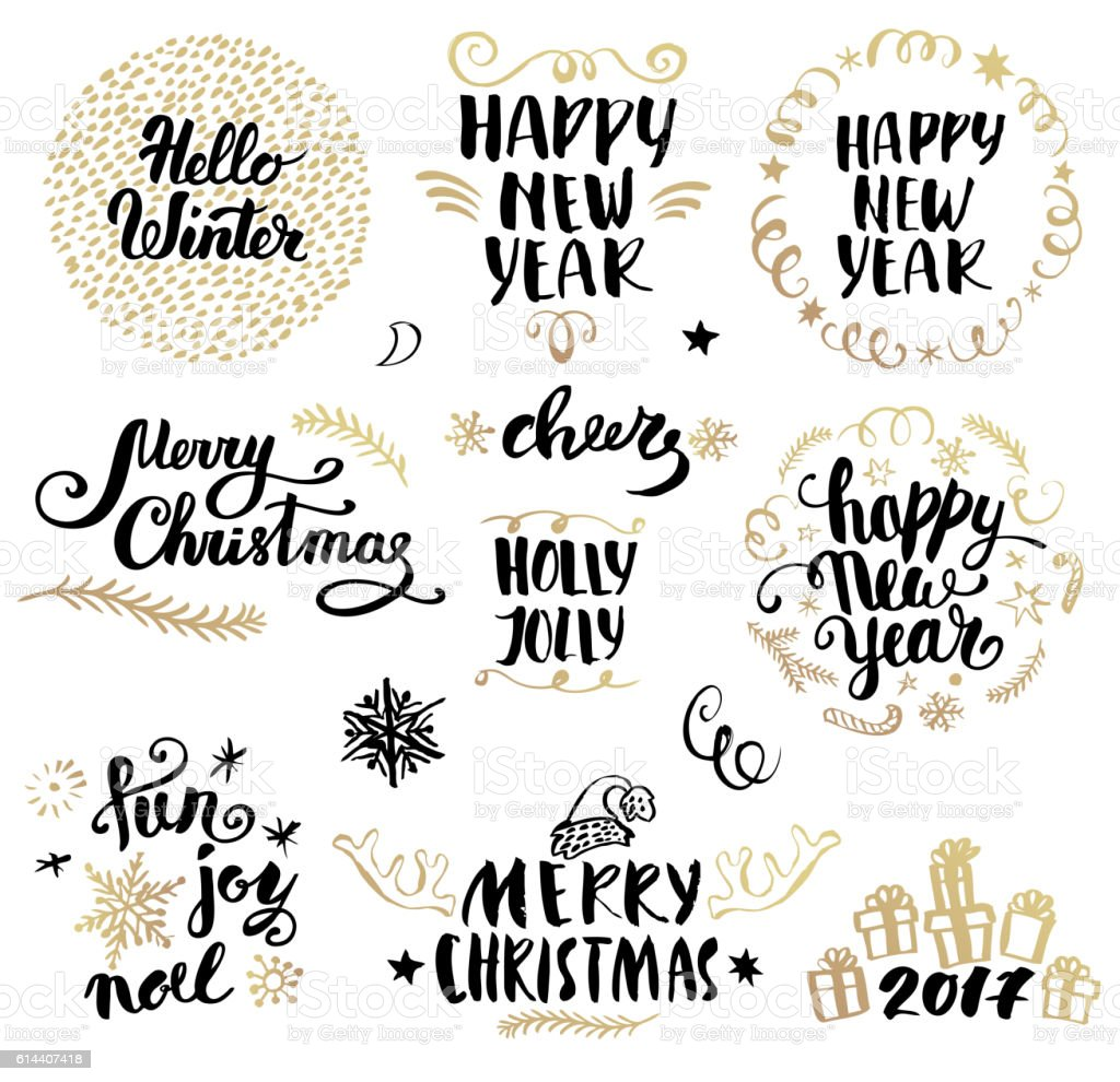 Christmas calligraphy set vector art illustration