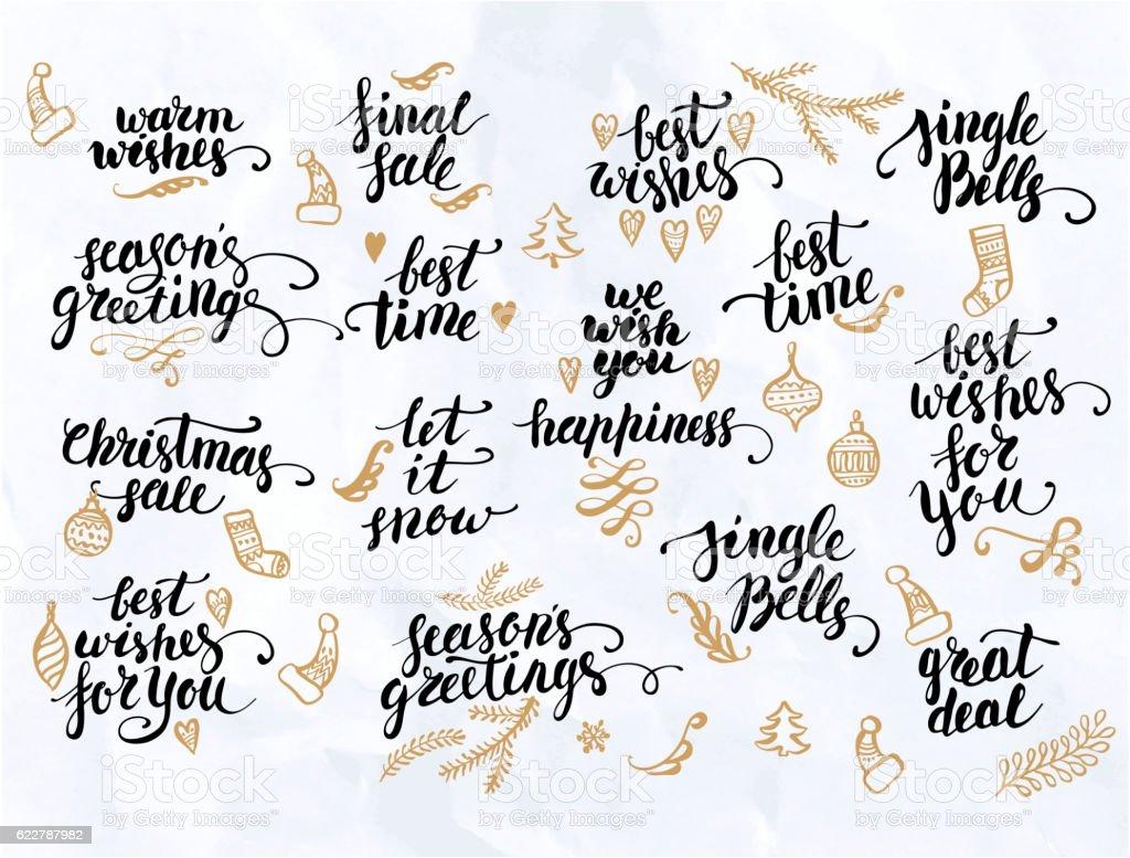 Christmas calligraphy set vector art illustration