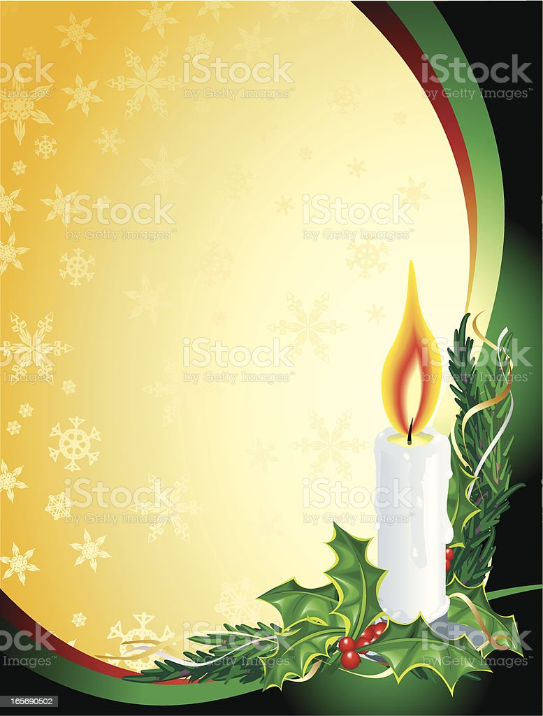 Christmas Candle Holly green, Gold, Vertical Background royalty-free stock vector art