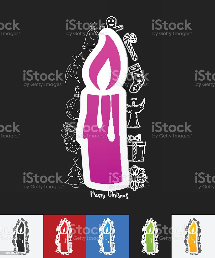 christmas candle paper sticker with hand drawn elements vector art illustration