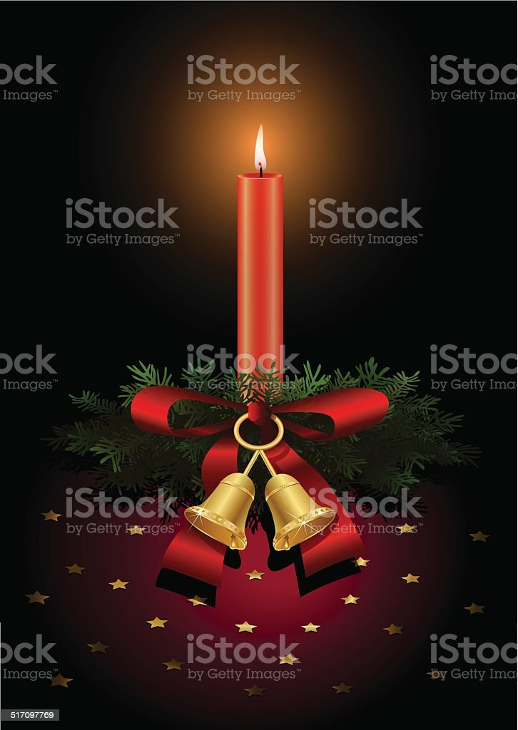 Christmas candle with pine branches, bells and red bow vector art illustration