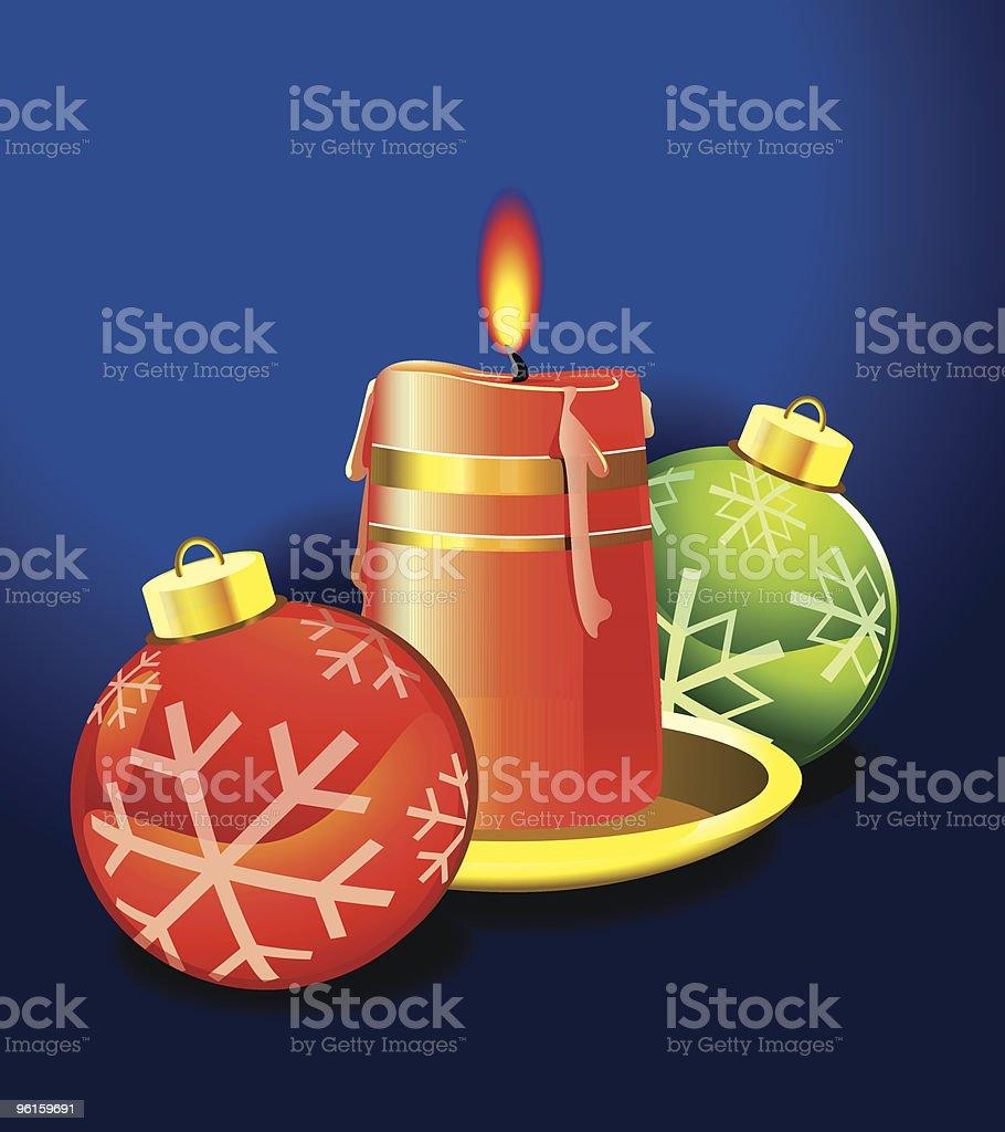 Christmas Candles Lights And Balls vector art illustration