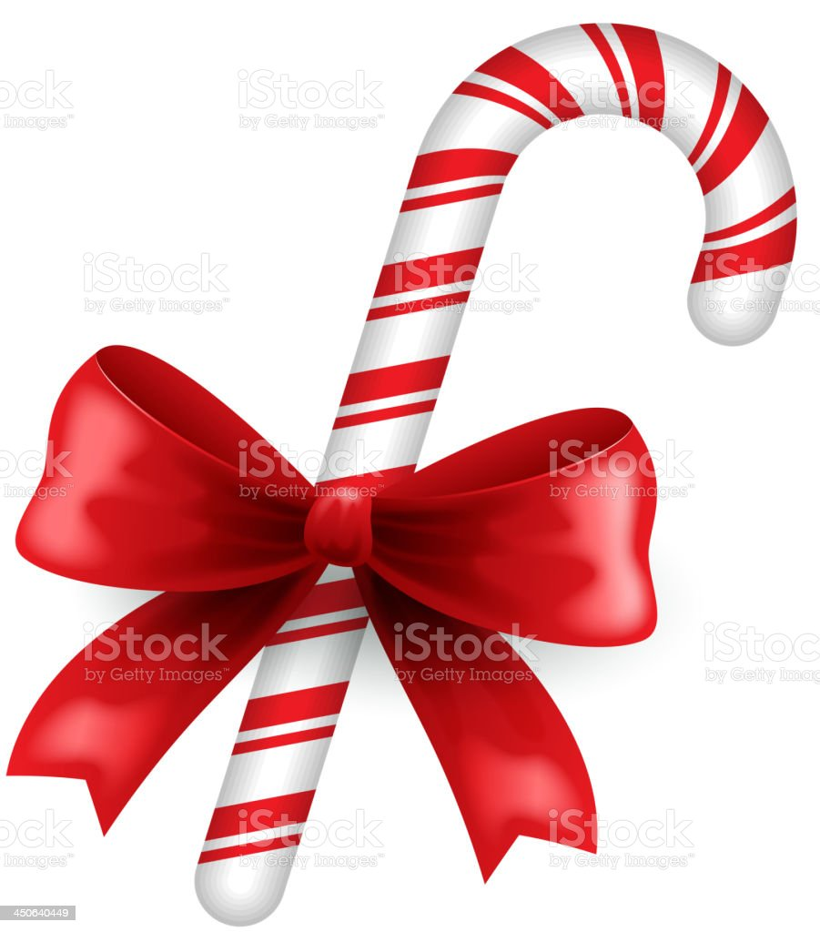 Christmas candy and bow vector art illustration