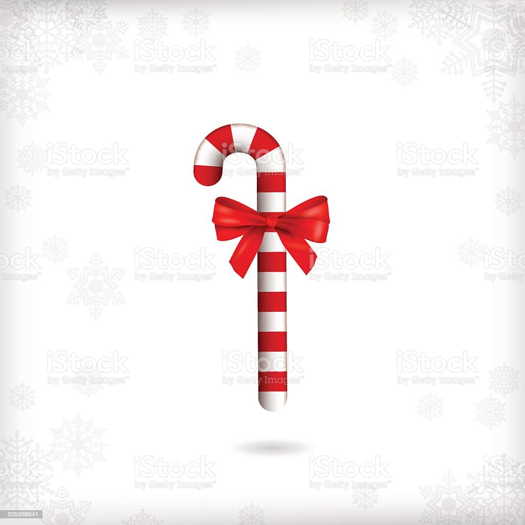 Christmas Candy Cane Red Bow vector art illustration