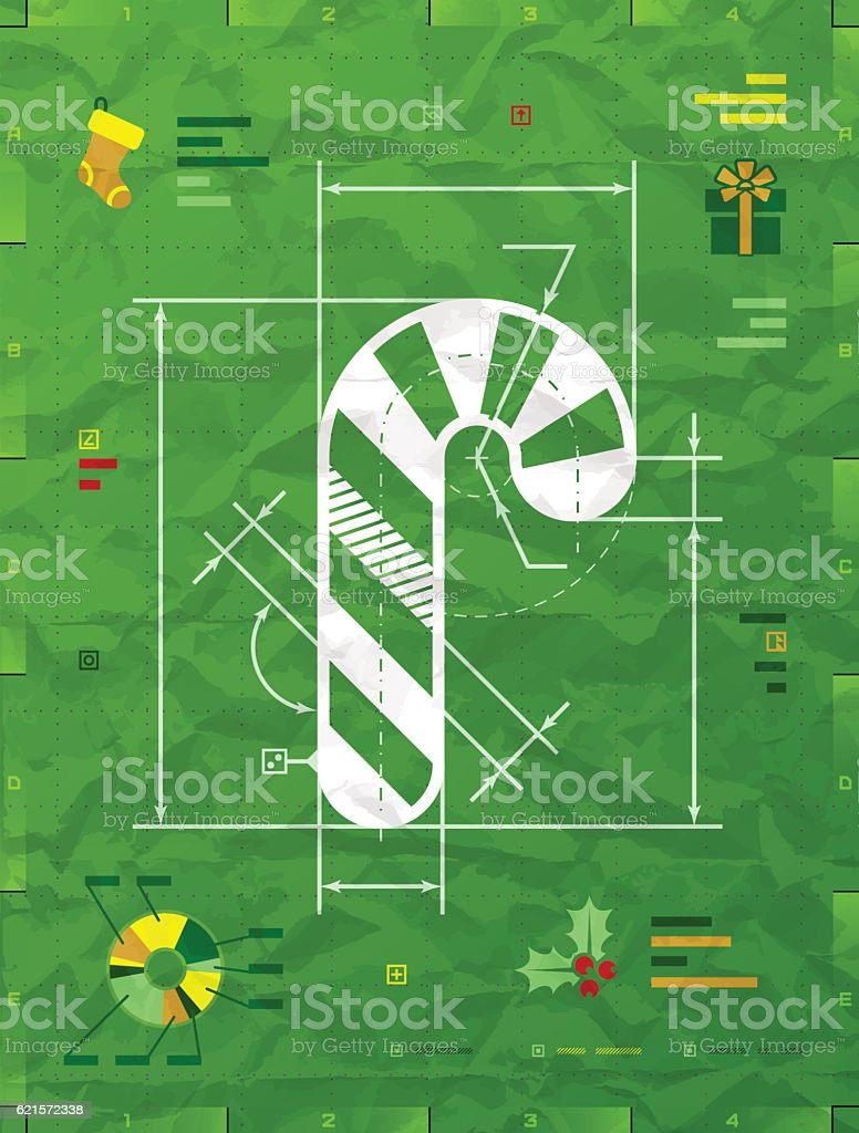 Christmas candy cane symbol as technical blueprint drawing vector art illustration