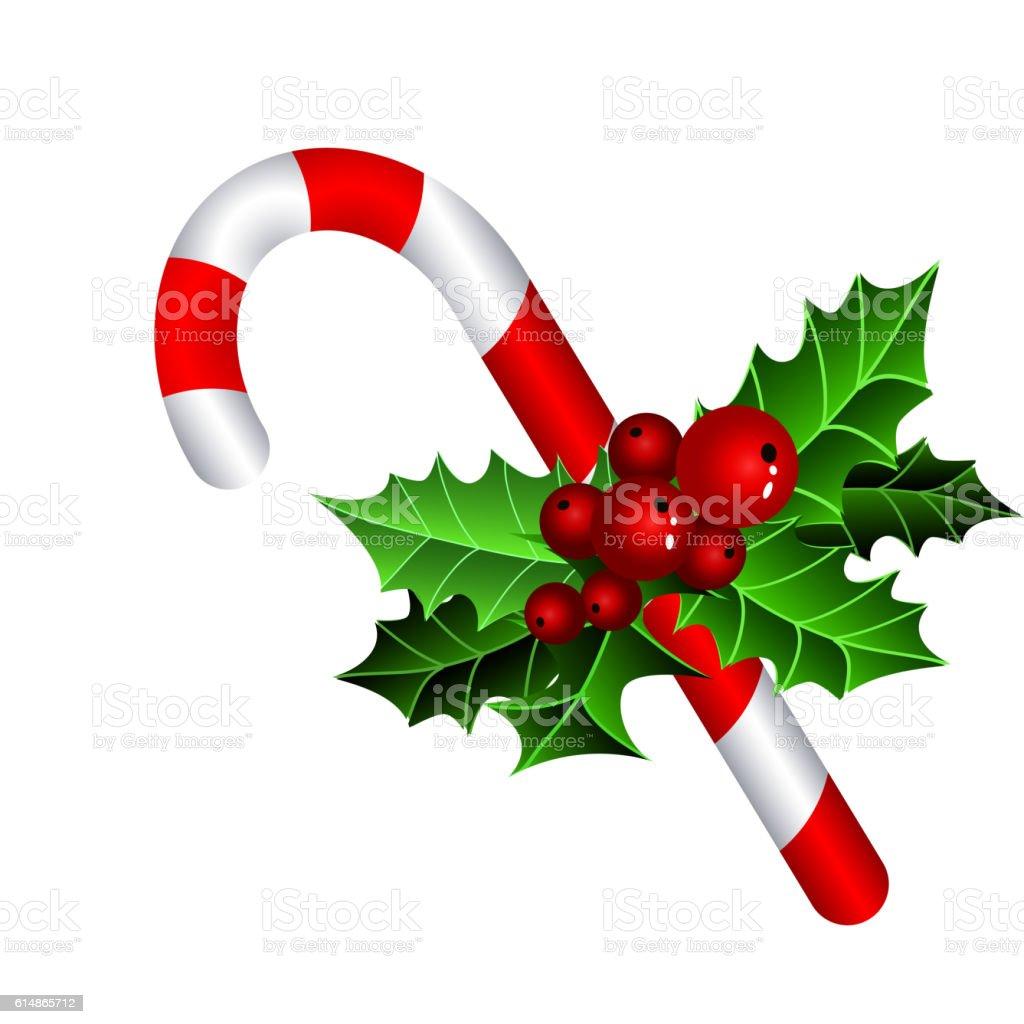 Christmas candy cane vector art illustration