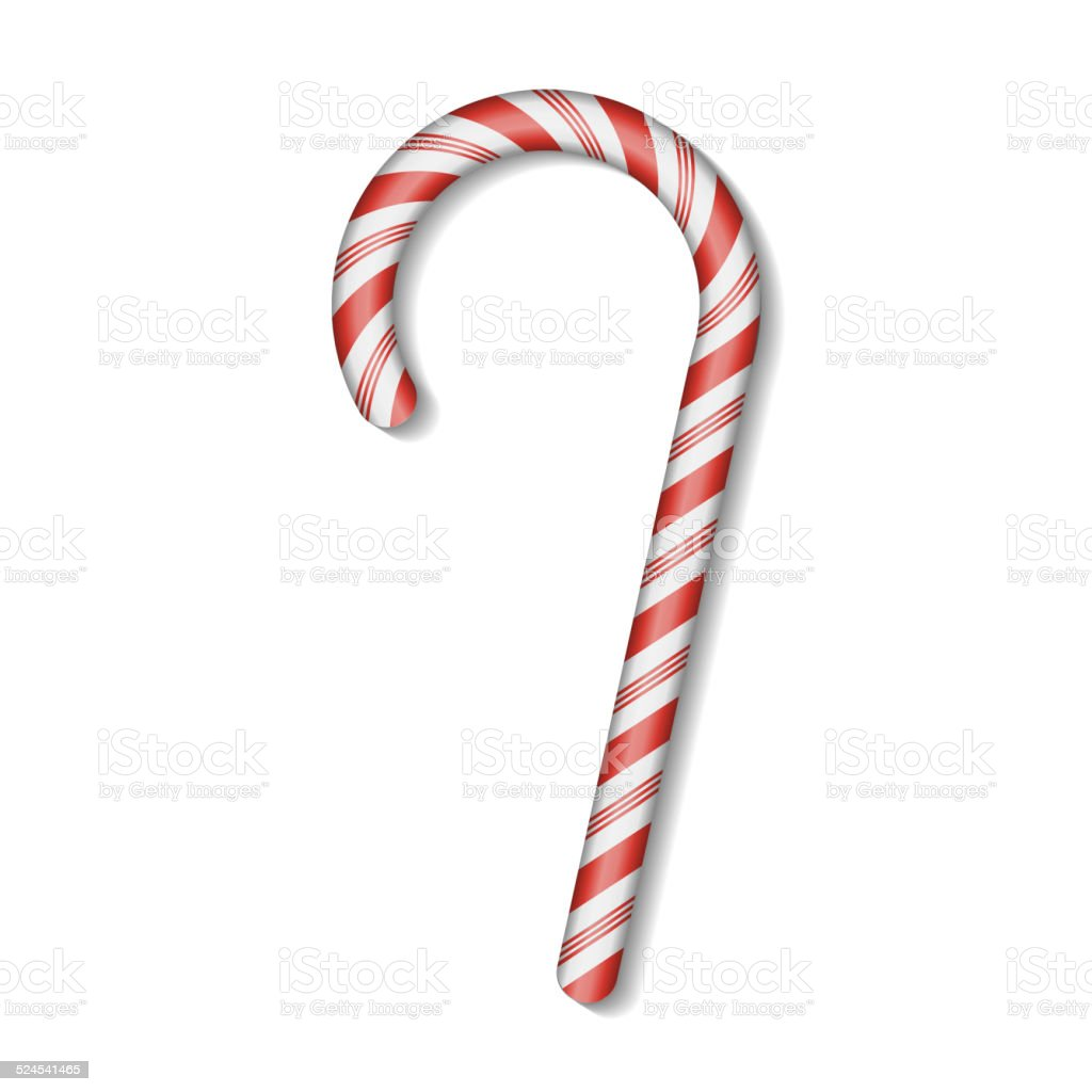Christmas Candy Cane with Red Bow Isolated on White Background. vector art illustration