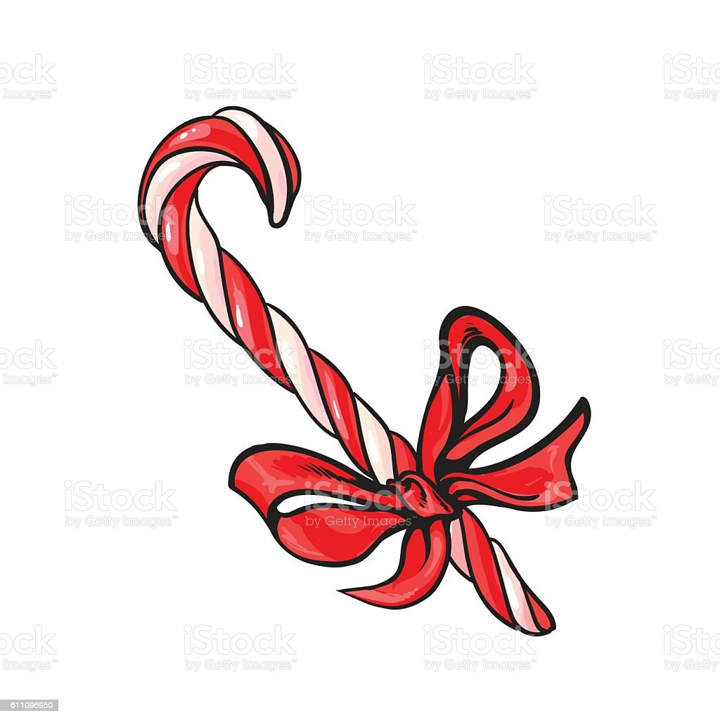 Christmas candy cane with red bow vector art illustration