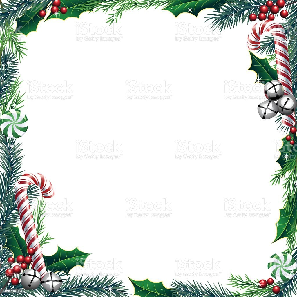 Christmas Candy Wreath Frame vector art illustration