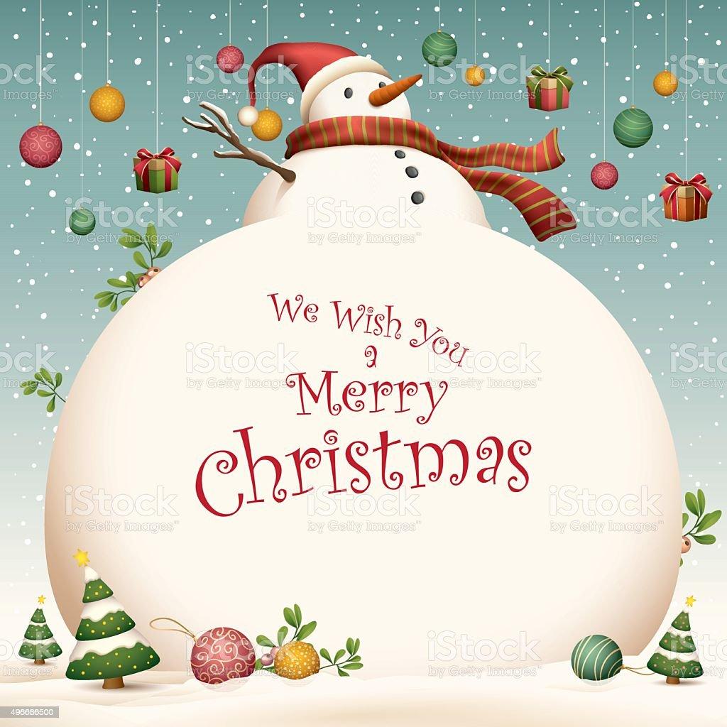Christmas Card - big snowman vector art illustration