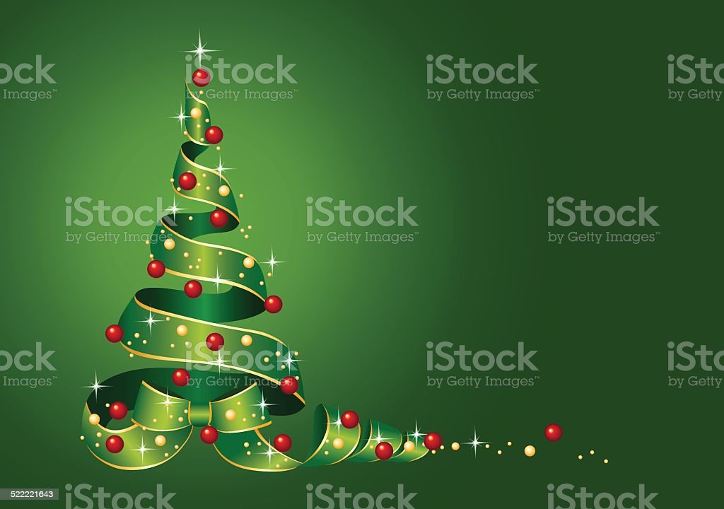 Christmas Card Christmas tree from ribbon with Christmas balls vector art illustration