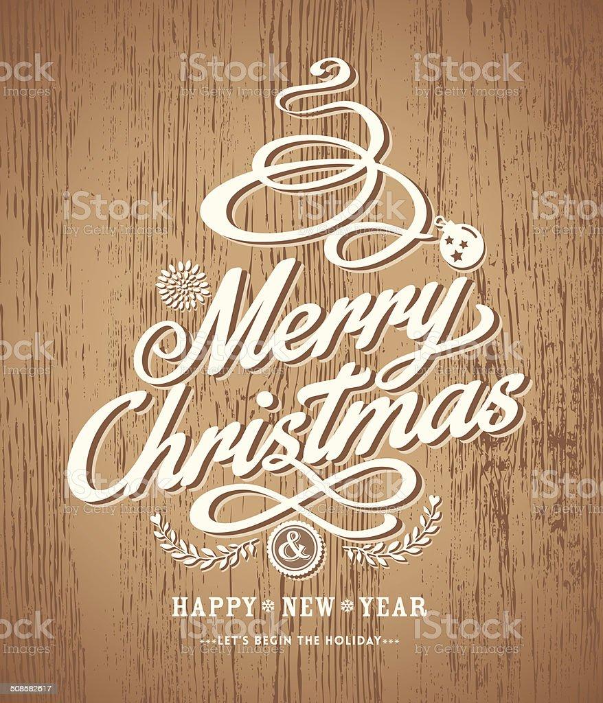 christmas card design on wood texture background vector art illustration
