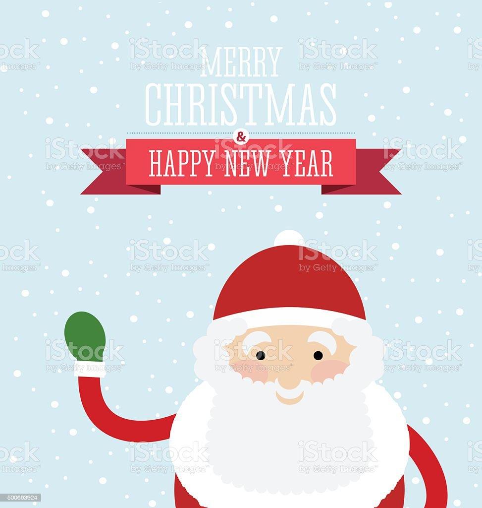 Christmas card design with Santa waving. vector art illustration