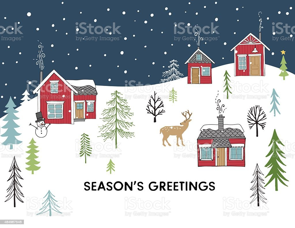 Christmas Card - Hand Drawn Scandinavian Style vector art illustration