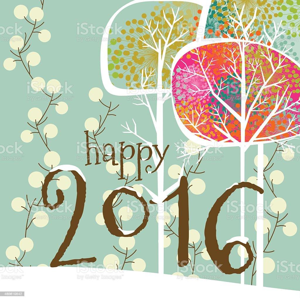 Christmas, card, happy new year, 2016, greeting card, tree, snow, winter vector art illustration