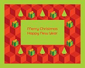 Christmas card isometric trees and gifts horizontal format