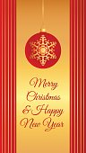 christmas card red gold ball long vertical