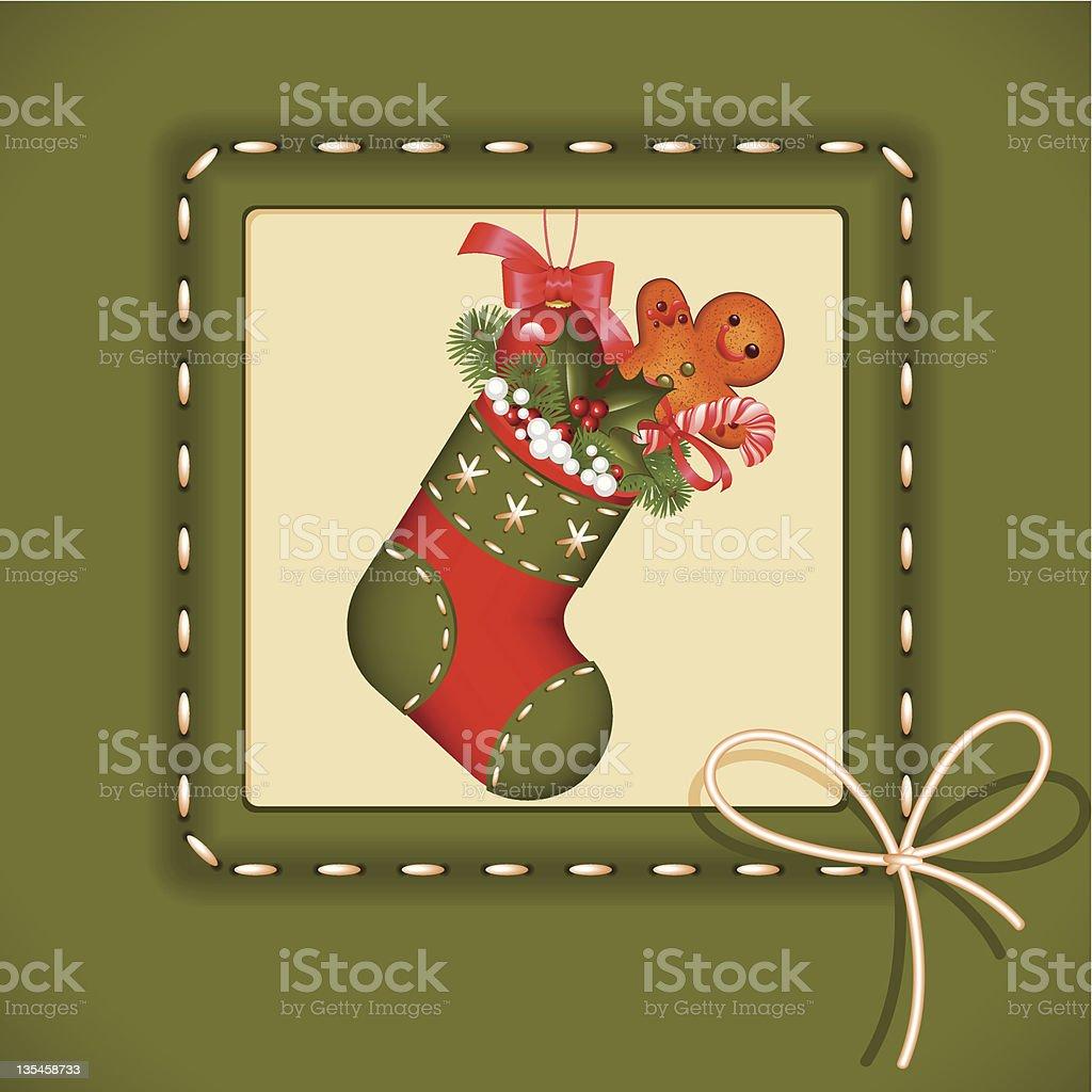 Christmas card. stocking royalty-free stock vector art