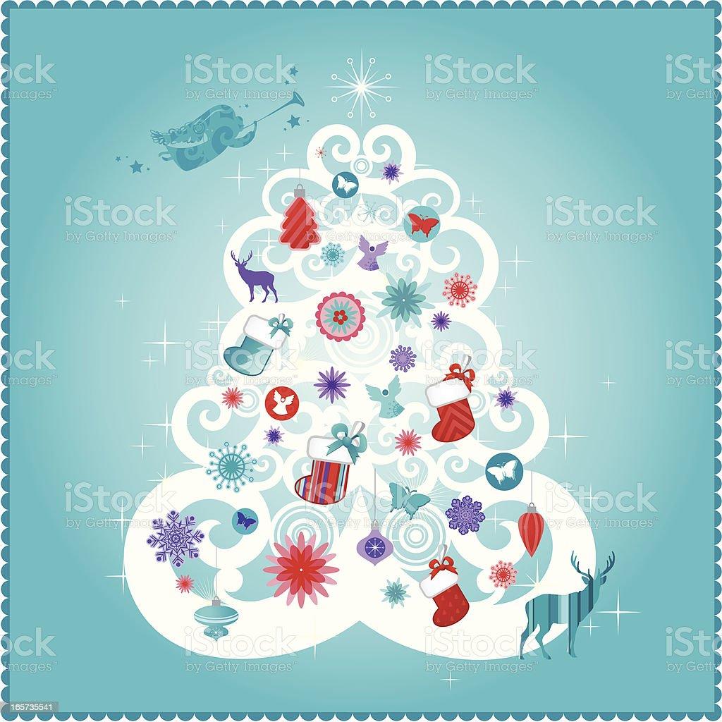 Christmas card | Teal series royalty-free stock vector art