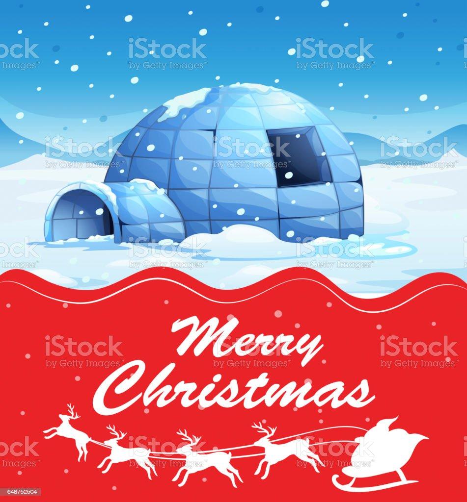 Christmas card template with igloo on snow ground vector art illustration