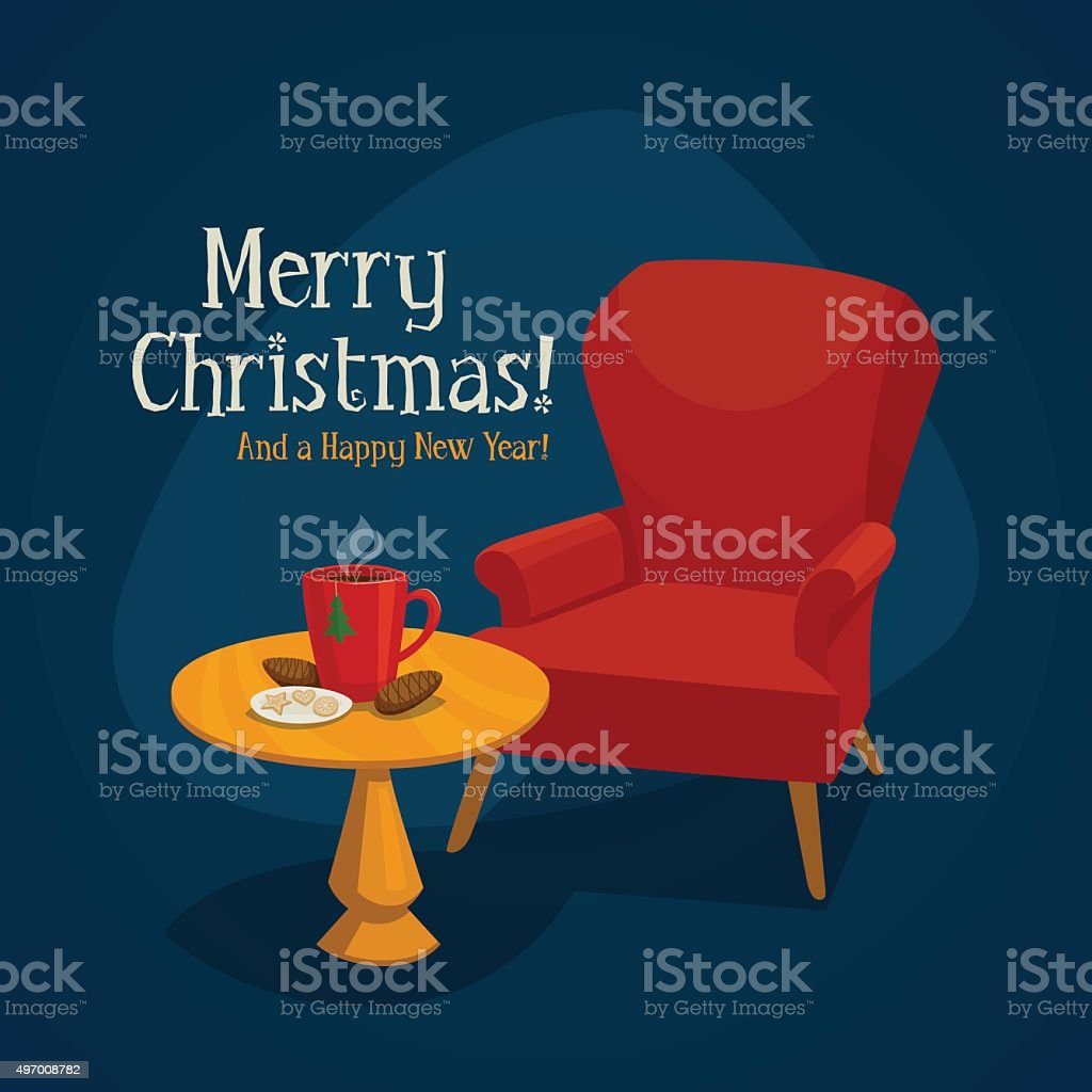 Christmas card with armchair, table, cup and cookies vector art illustration