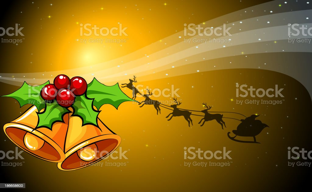 christmas card with bells and reindeers royalty-free stock vector art
