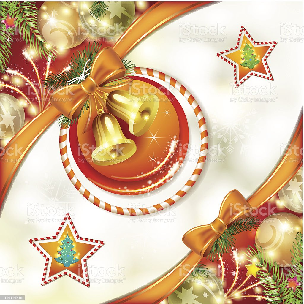 Christmas card with bells royalty-free stock vector art