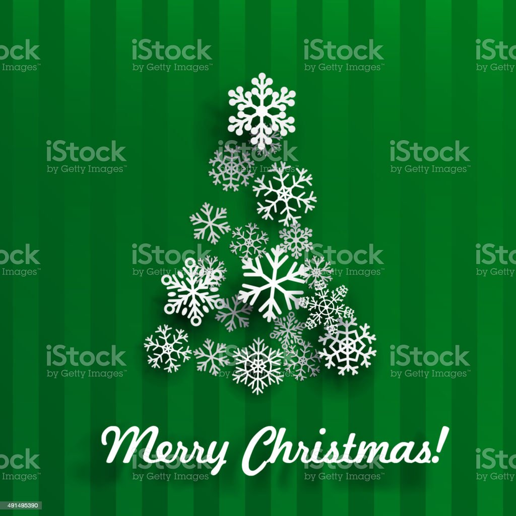 Christmas card with Christmas tree of snowflakes vector art illustration