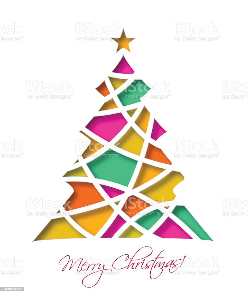 Christmas card with colored christmas tree and star. vector art illustration