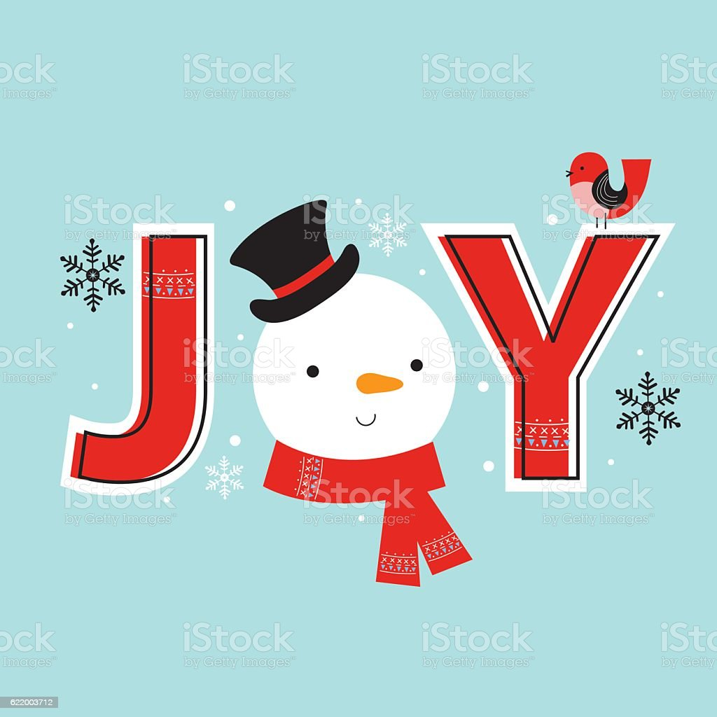 Christmas card with cute snowman in Joy text vector art illustration