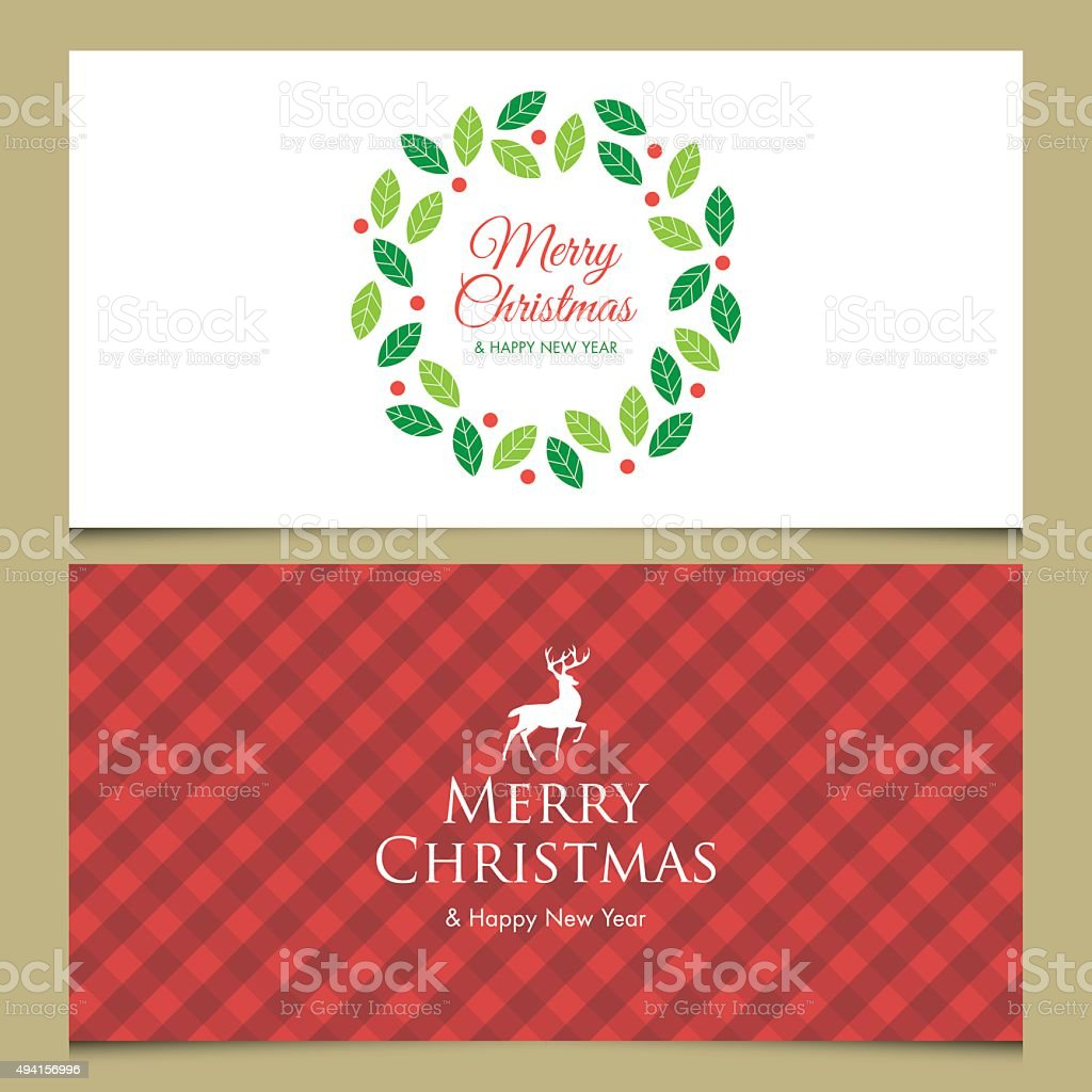 Christmas card with deer, logo title, gingham pattern and christmas wreath. vector art illustration
