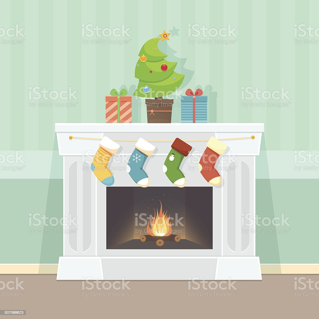 Christmas Card with fireplace vector art illustration