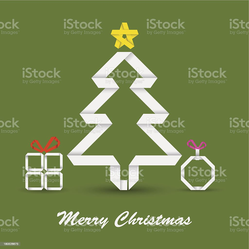 Christmas card with folded paper tree royalty-free stock vector art