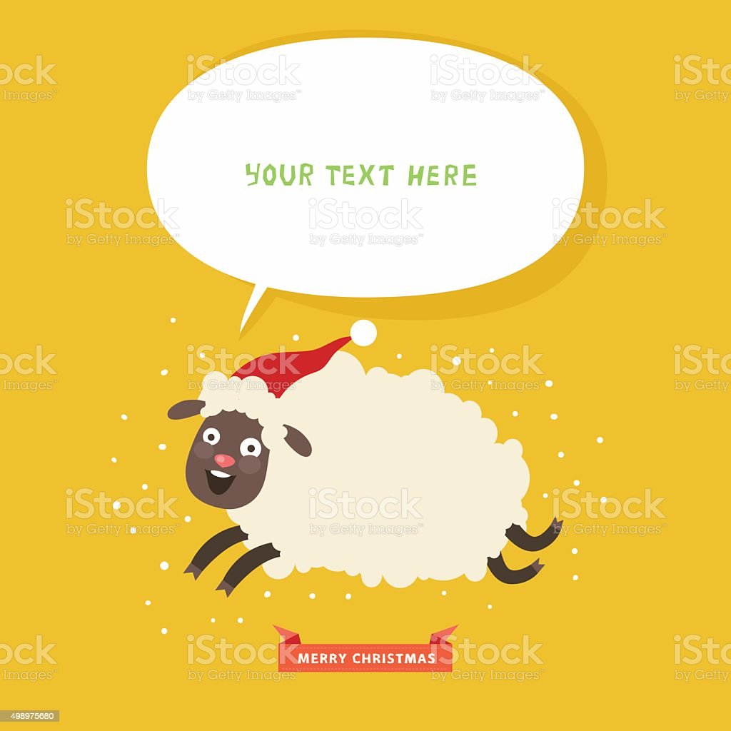 Christmas card with funny running sheep and bubble for text vector art illustration