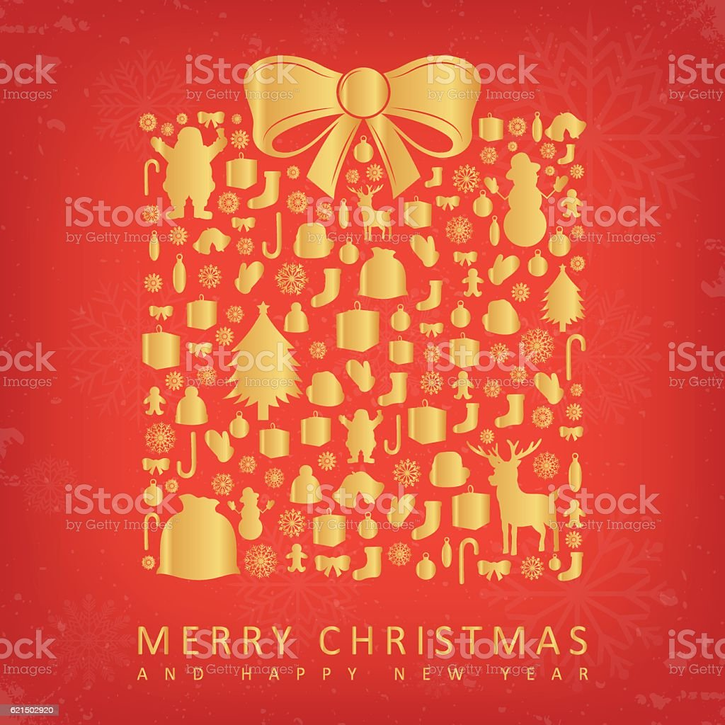 Christmas card with gift box sillhouette and christmas decoration elements. royalty-free stock vector art