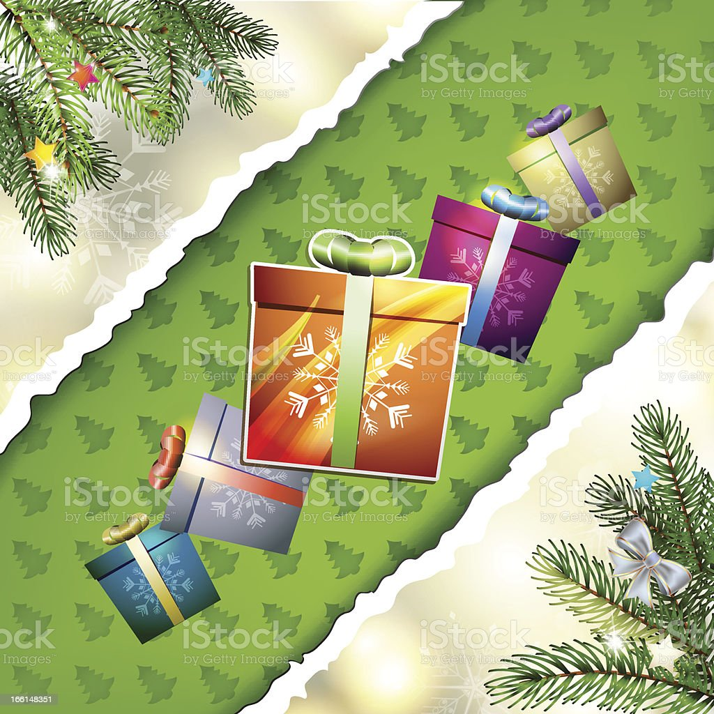 Christmas card with gifts royalty-free stock vector art