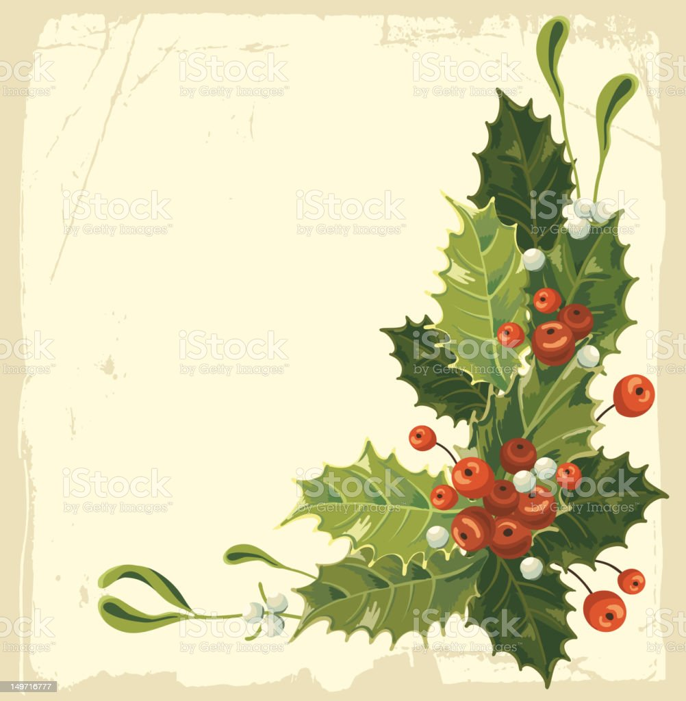 A Christmas card with holly and berries royalty-free stock vector art