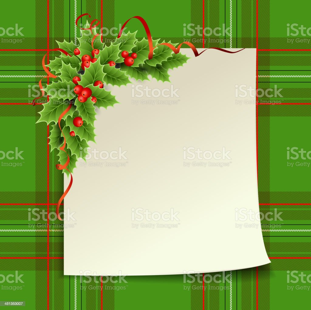 Christmas card with holly royalty-free stock vector art